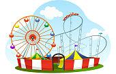 cartoon amusement park roller coaster world wheel