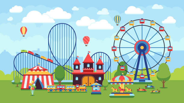 illustrazioni stock, clip art, cartoni animati e icone di tendenza di cartoon amusement park with circus, carousels and roller coaster vector illustration - luna park