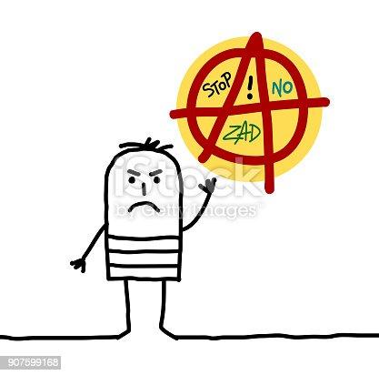 Cartoon Anarchist Man