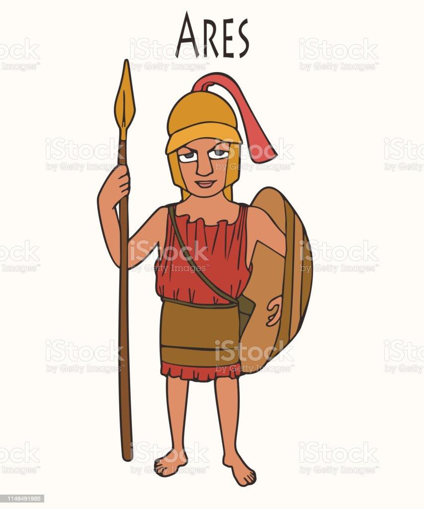 Cartoon Ancient Greek God Ares Stock Illustration Download
