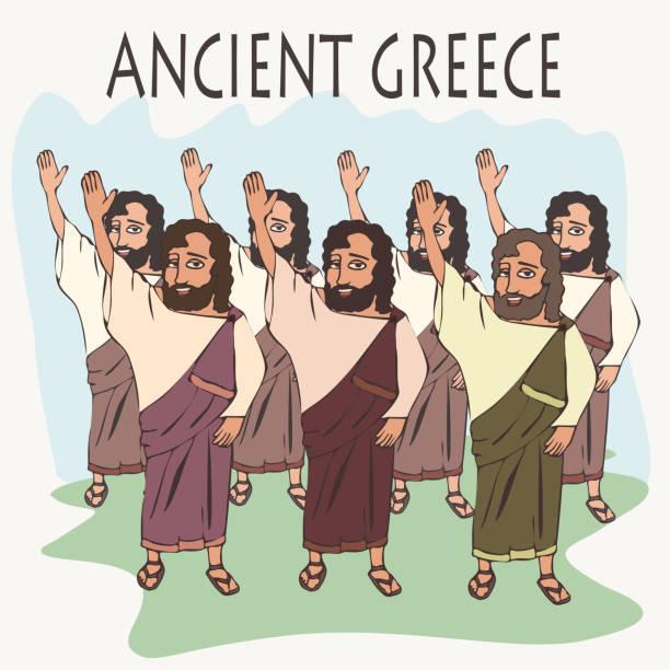 karikatur alte griechische hand abstimmung - paphos stock-grafiken, -clipart, -cartoons und -symbole