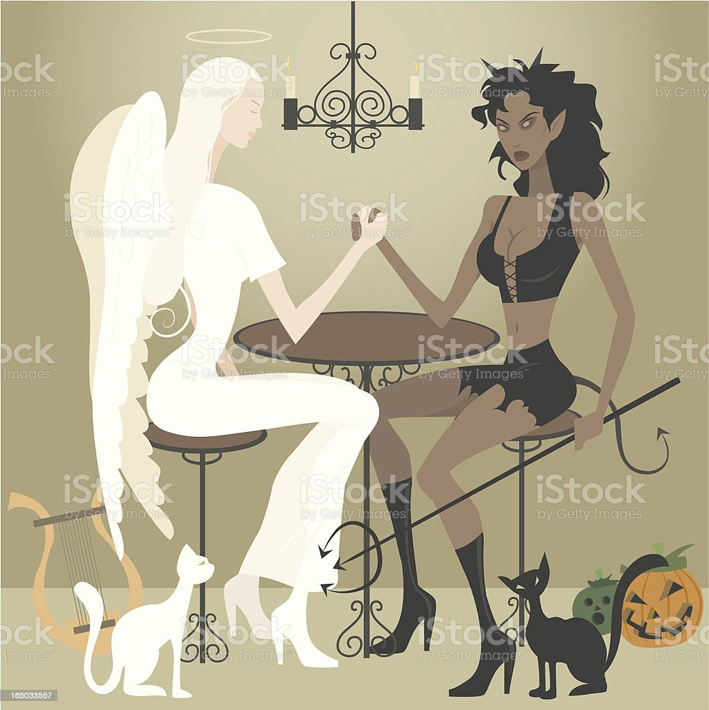 Cartoon Angel and Demon Arm Wrestling at Table vector art illustration