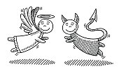 Hand-drawn vector drawing of a Cartoon Angel and a Devil Together. Black-and-White sketch on a transparent background (.eps-file). Included files are EPS (v10) and Hi-Res JPG.