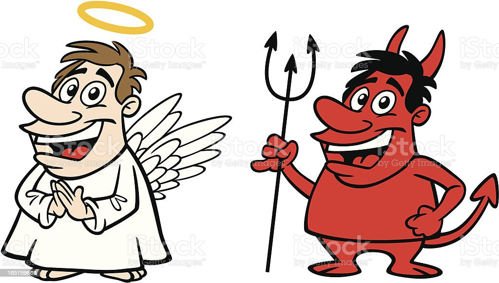 Comic Engelchen Und Teufelchen Stock Vektor Art und mehr