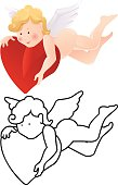 Cartoon angel color and outline