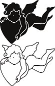 Cartoon angel silhouette and outline