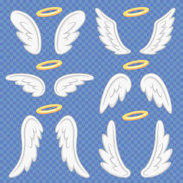 stockillustraties, clipart, cartoons en iconen met cartoon engel vleugels. heilige engelachtige nimbus en engelen vleugel. vliegende gevleugelde angeles vector illustratie set - engel