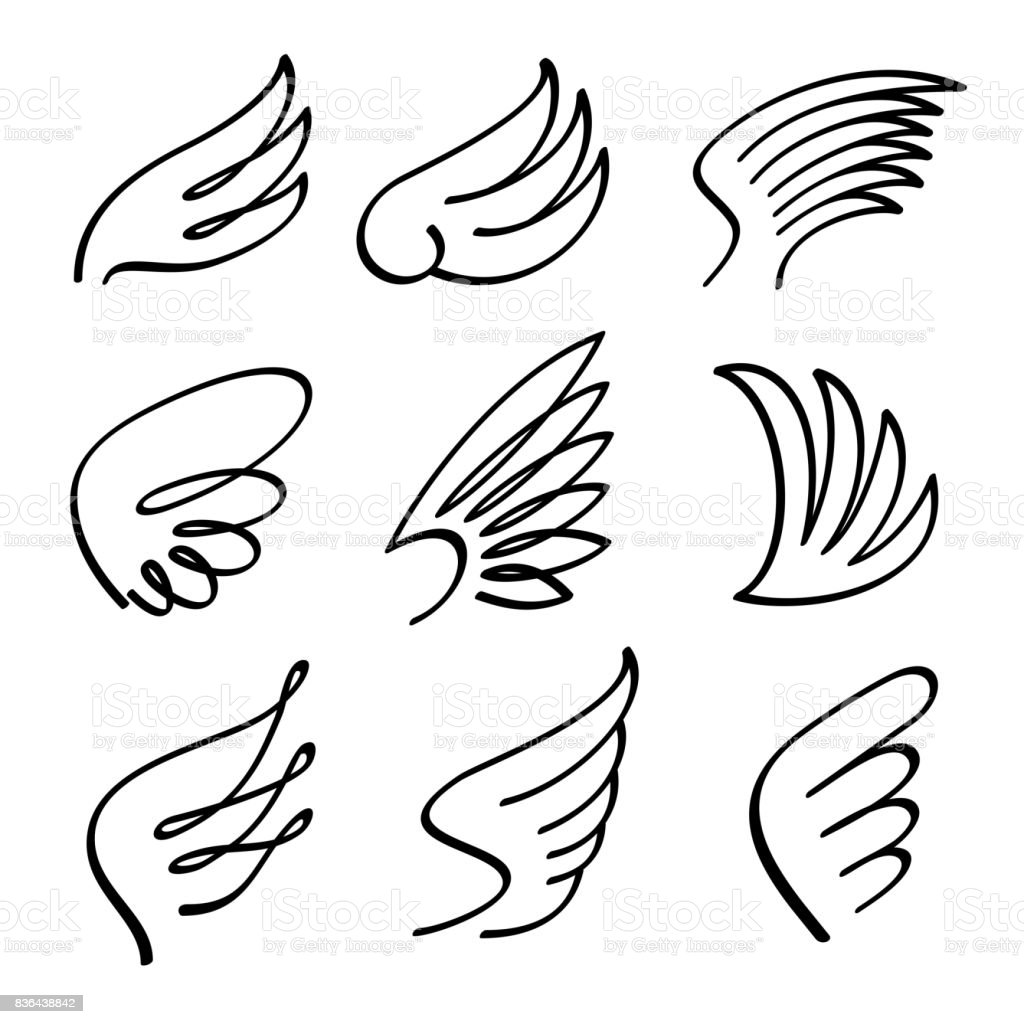 Cartoon angel wings vector set. Sketch doodle winged abstract emblems isolated on white background vector art illustration
