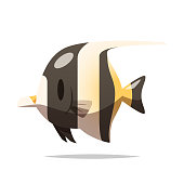 Cartoon angelfish vector isolated illustration