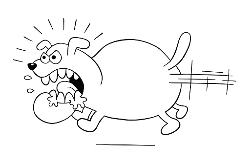 Cartoon angry and big dog running, vector illustration