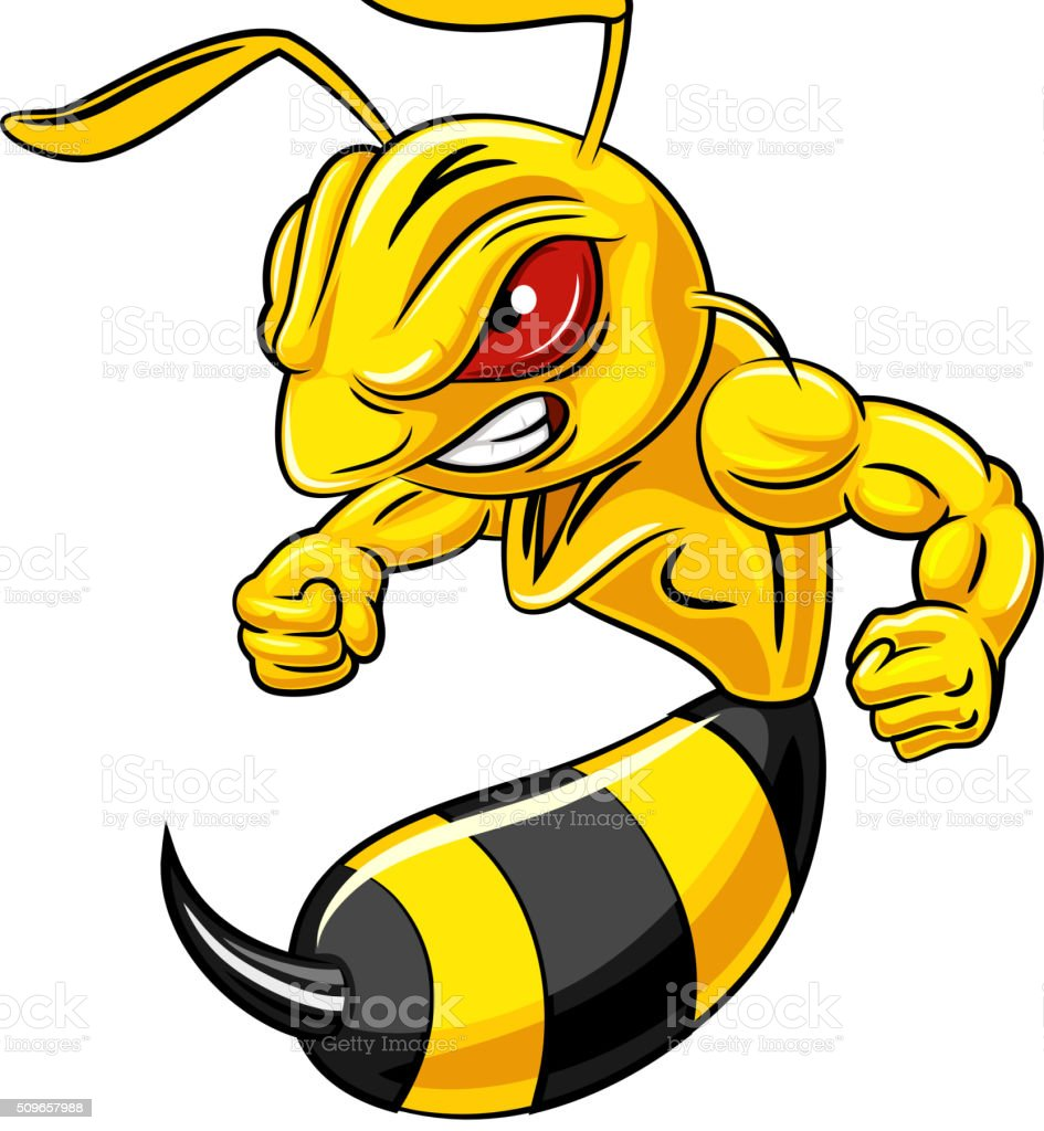 cartoon angry bee mascot isolated on white background stock vector