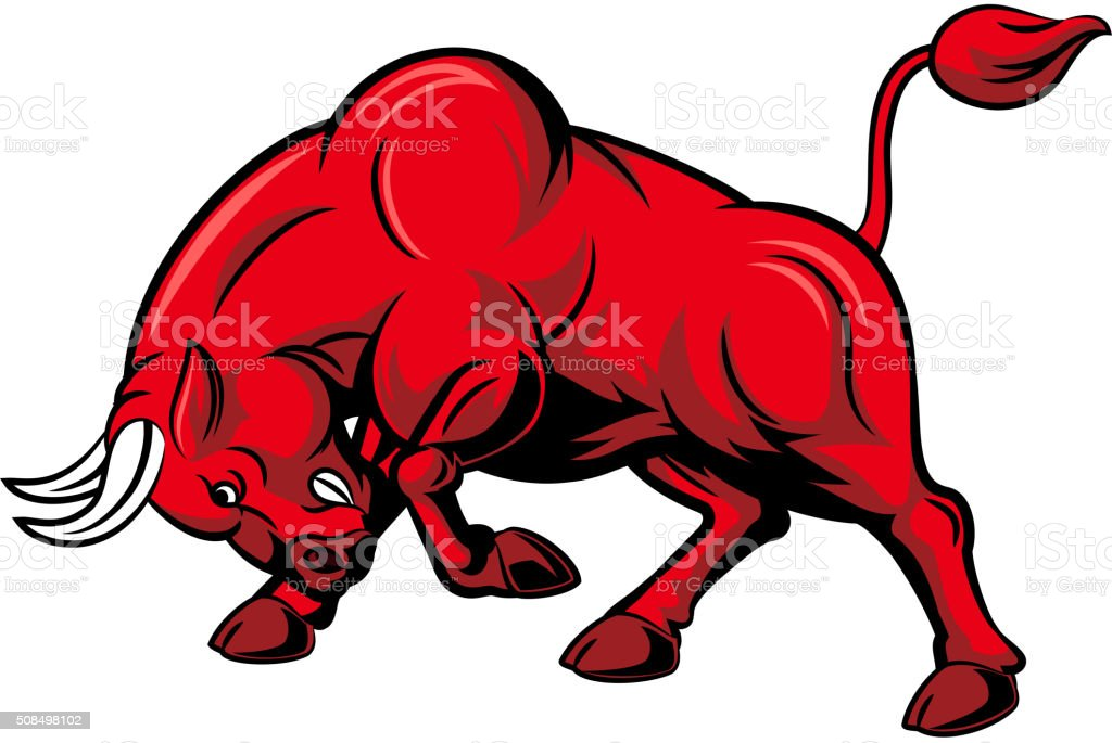 Cartoon angry bull attack isolated on white background vector art illustration