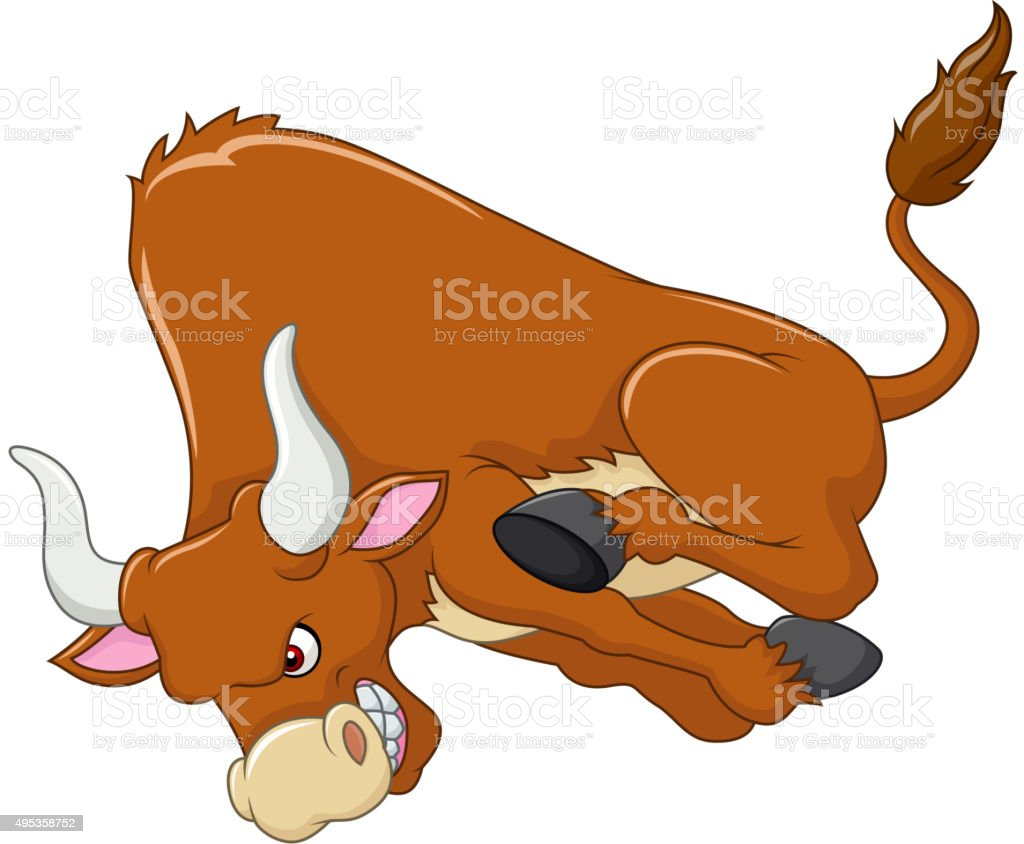 Cartoon angry bull is attacking isolated on white background vector art illustration