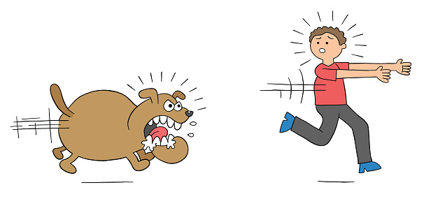 Cartoon angry dog chases man and man runs away, vector illustration