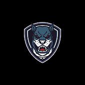 Cartoon Angry Dog Shield Mascot Logo