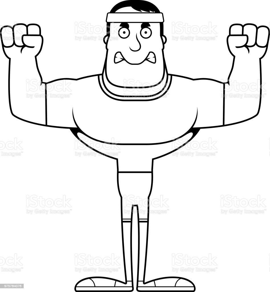 Comic Wütende Fitness Mann - Lizenzfrei Comic - Kunstwerk Vektorgrafik