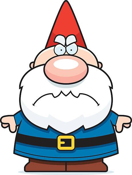 comic wütende gnome - gartendekorationen stock-grafiken, -clipart, -cartoons und -symbole