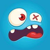 Cartoon angry monster face. Vector Halloween blue monster scared. Monster mask