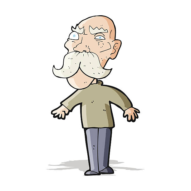 cartoon angry old man - old man clipart stock illustrations, clip art, cartoons, & icons
