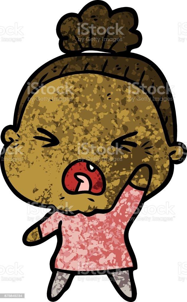 Angry old woman cartoon