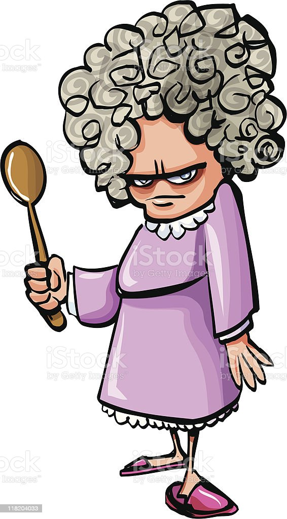Angry old woman cartoon