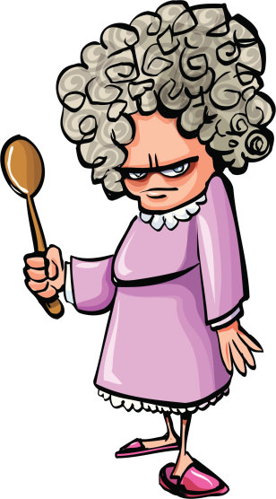 Cartoon Angry Old Woman With A Wooden Spoon Stock Illustration - Download Image Now