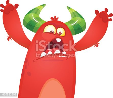 istock Cartoon angry red monster yelling. Vector illustration of yelling monster for Hallowe 825862306