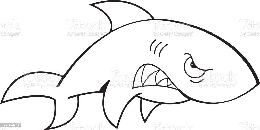 çizgi Film Kızgın Köpek Balığı Stok Vektör Sanatı Abdnin Daha