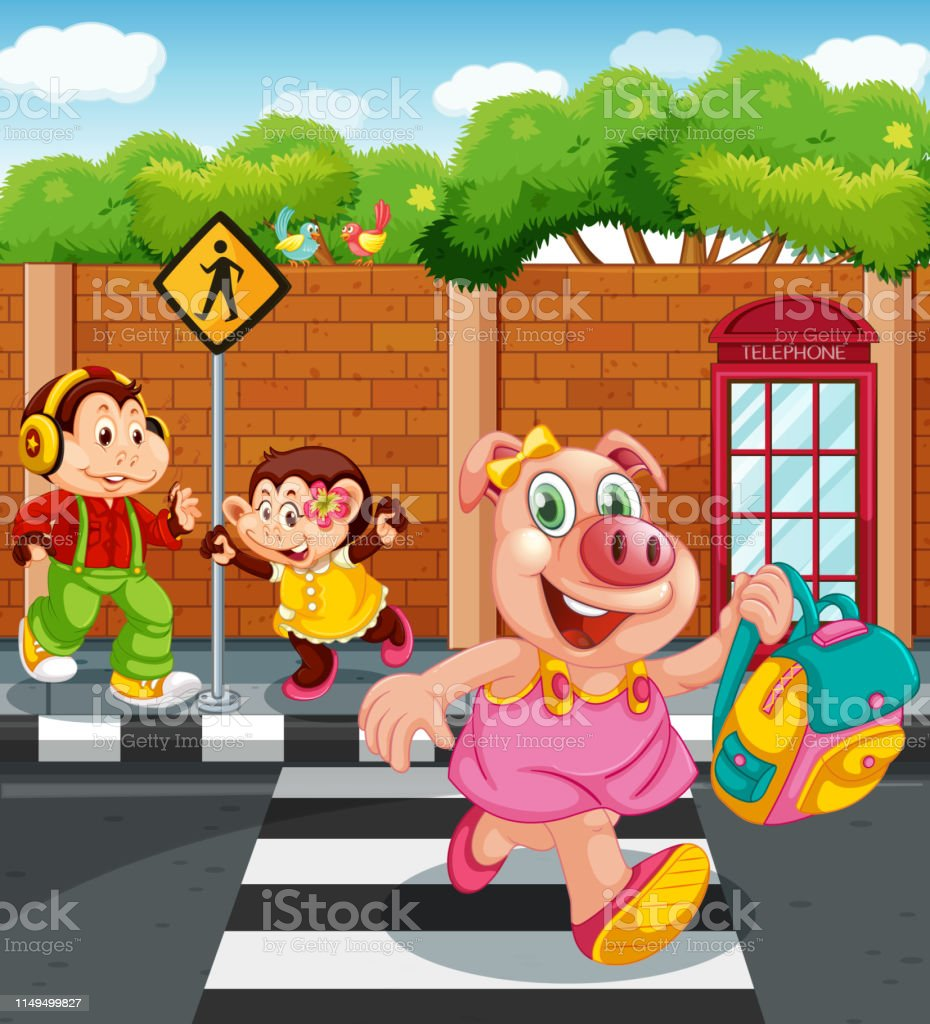 Cartoon animal character going to school illustration