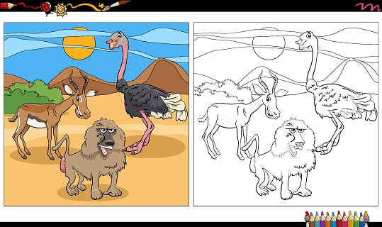 cartoon animal characters group coloring book page