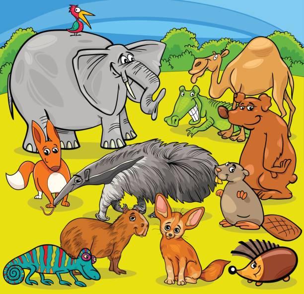 cartoon animal characters group Cartoon Illustration of Funny Animal Characters Group Giant Anteater stock illustrations