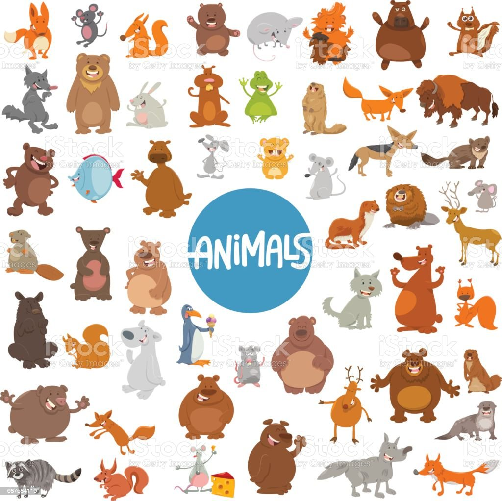 animal Cartoon vaste ensemble de caractères - Illustration vectorielle