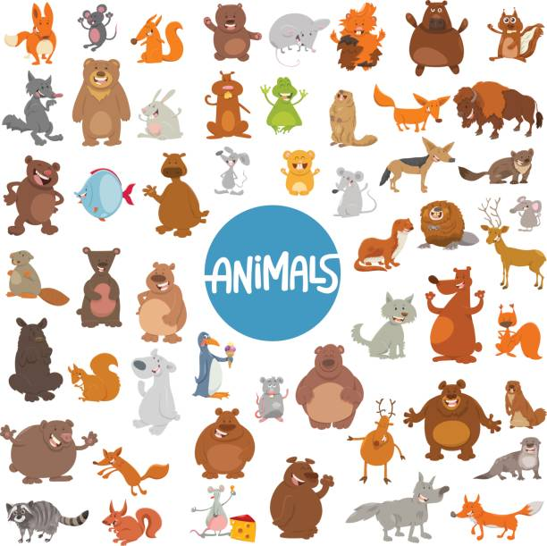 cartoon animal characters huge set vector art illustration