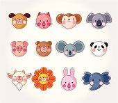 cartoon animal face icon set