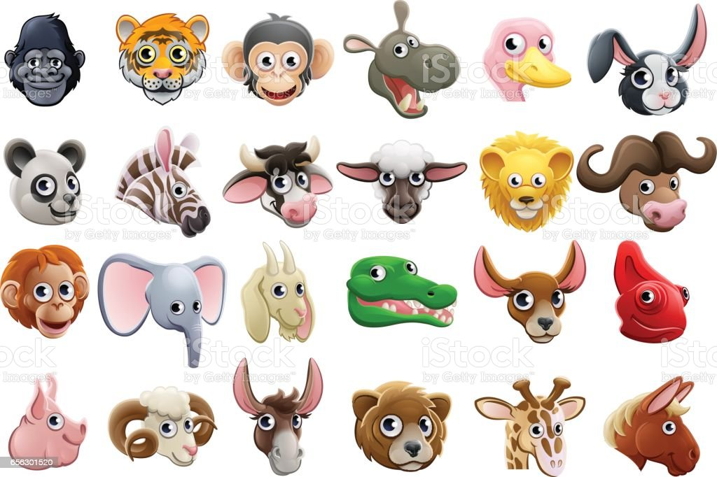 Cartoon Animal Faces Icon Set vector art illustration
