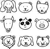 8 sketch drawing of cartoon animal head.