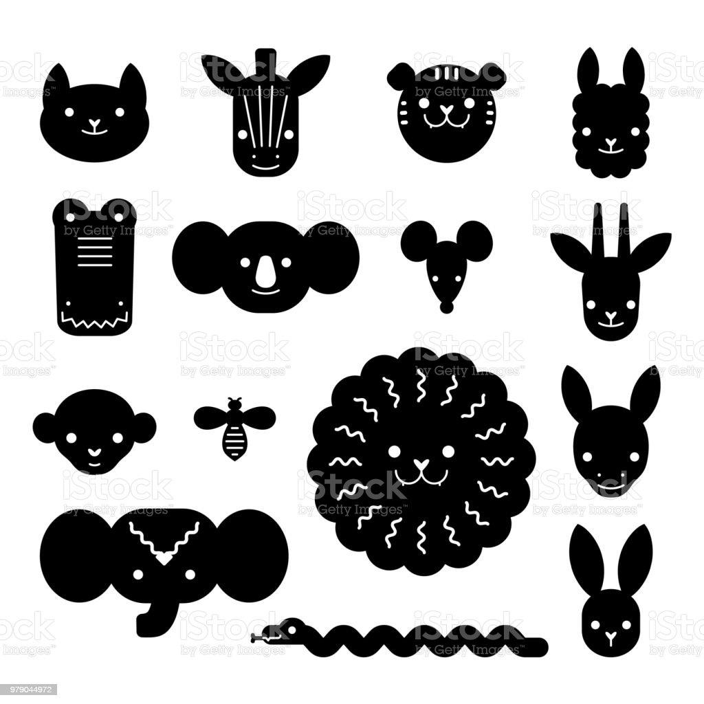 Ilustración de Paquete De Cabezas De Animales De Dibujos Animados ...