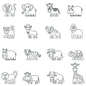 Cartoon African animals, outline vector icons.