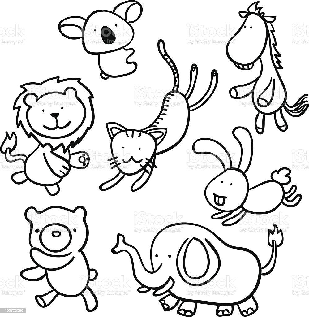 Cartoon animal in black and white vector art illustration