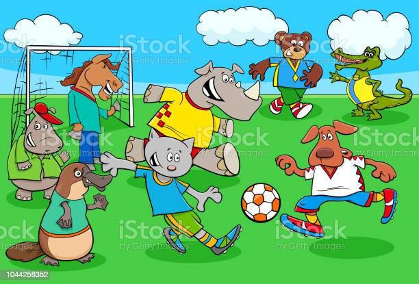 Cartoon animal soccer players on football field vector id1044258352?b=1&k=6&m=1044258352&s=612x612&h=xqykulrbw2syqksicckvusy jvii7dbxcyfgradghcw=