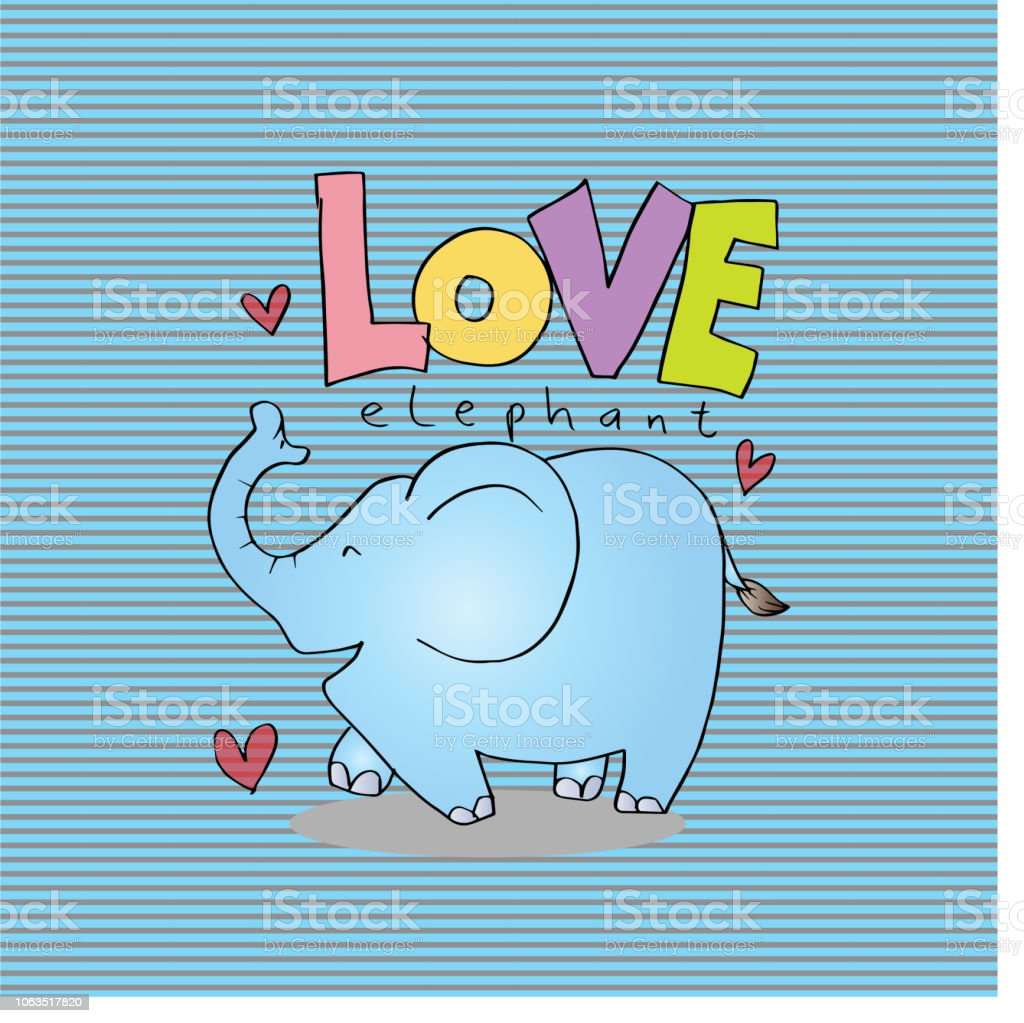 Ilustración De Dibujos Animados De Animales Con Letras De Amor De