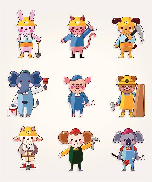 cartoon tier arbeiter symbole - kaninchenbau stock-grafiken, -clipart, -cartoons und -symbole