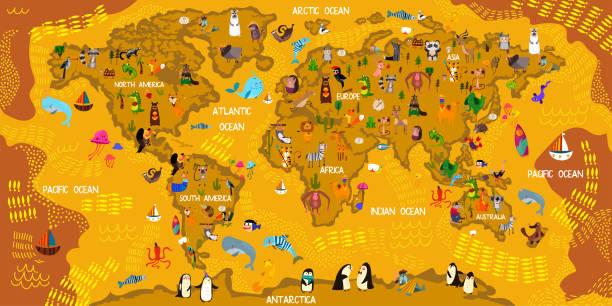 ilustraciones, imágenes clip art, dibujos animados e iconos de stock de mapa de mundo animal de dibujos animados. animales de todo el mundo, los océanos y continentes. ideal para niños diseño, juego educativo, imán o cartel. ilustración vectorial - stock vector - viaje a sudamérica