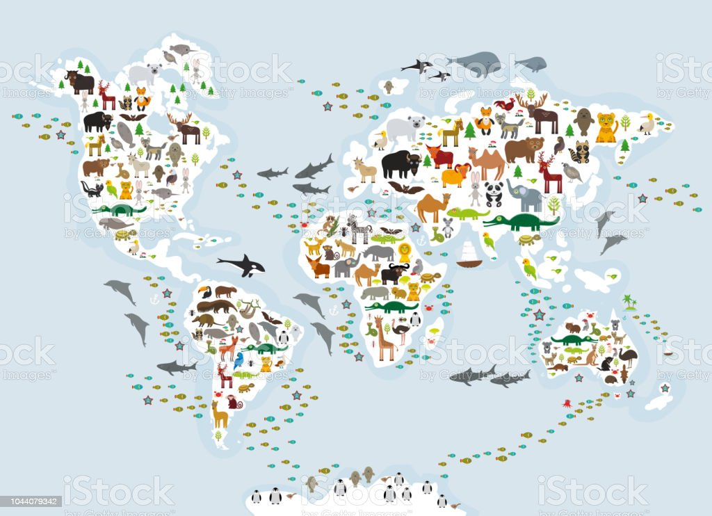 Cartoon Animal World Map For Children And Kids Animals From All Over