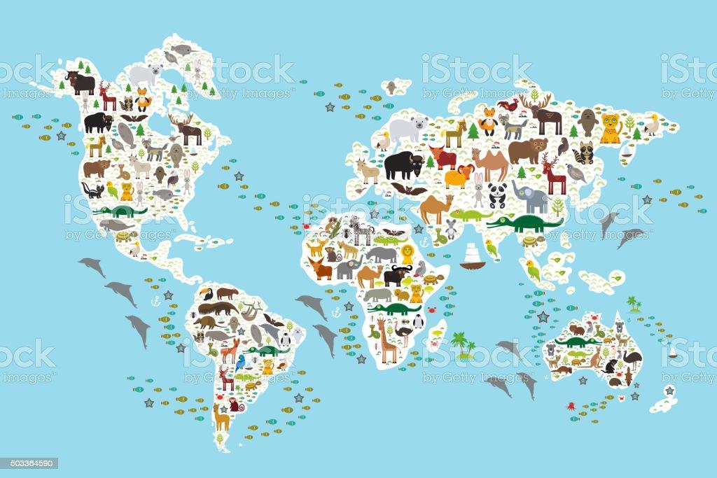 Cartoon animal world map for children, Animals world vector art illustration