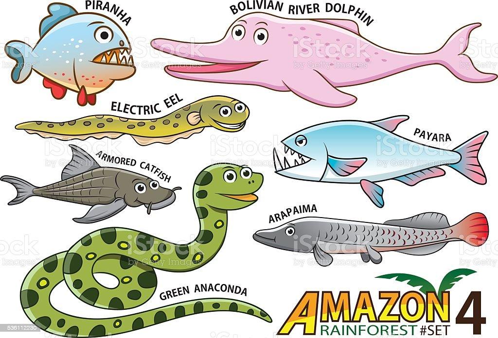 Ilustración de Dibujos Animados De Animales Y Aves En El Amazonas ...