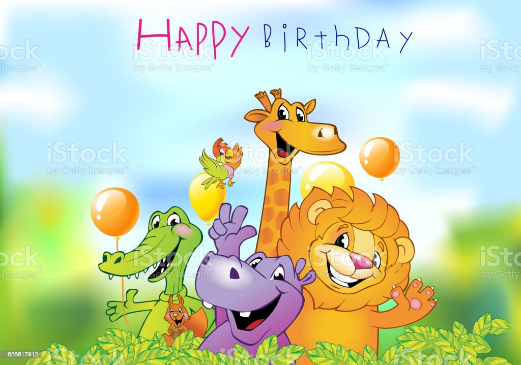 Cartoon Animals Birthday Greeting Card Lizenzfreies Stock Vektor Art Und