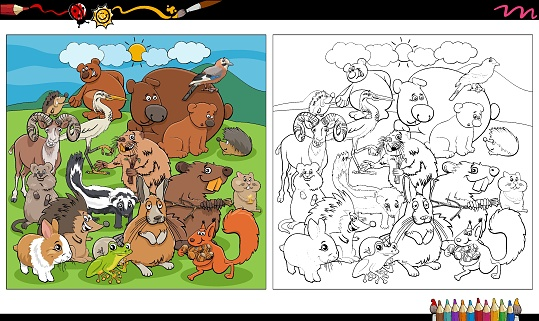 cartoon animals characters group coloring book page