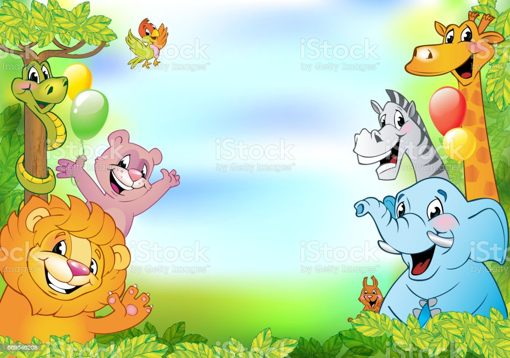 Cartoon Animals Cheerful Background Stock Illustration ...