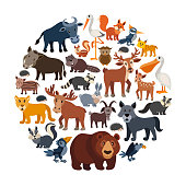 Cartoon animals collage